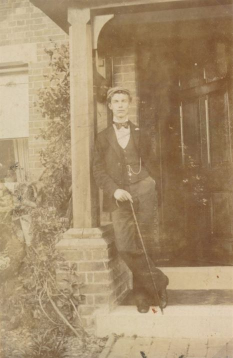 Joe Wilkinson (headmaster's son) outside The School House (pre-1902)