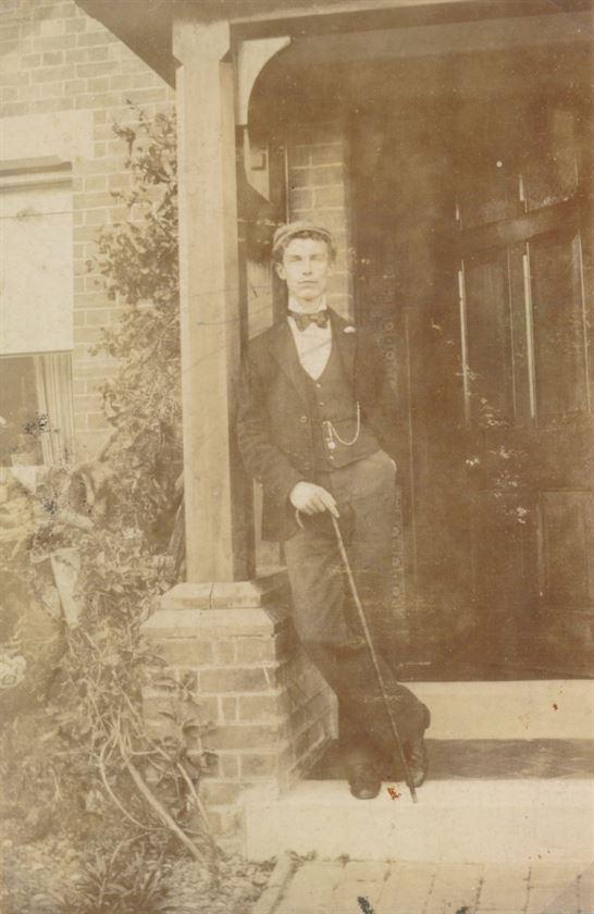 Joe Wilkinson (headmaster's son) outside The School House (pre-1902)