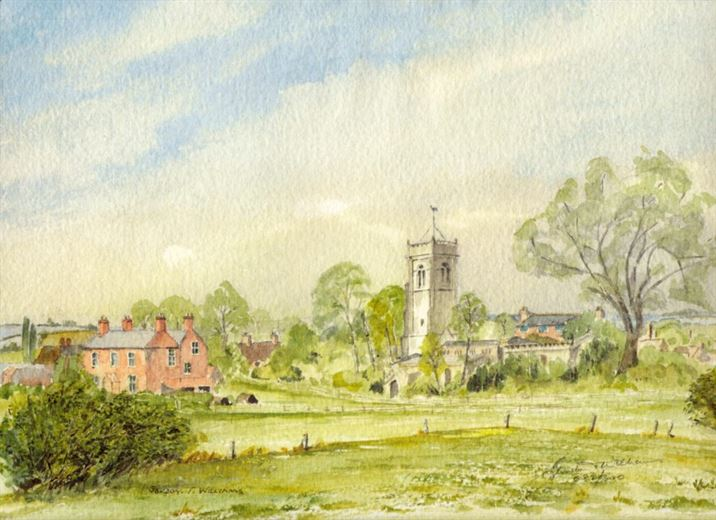 Hickling from Clawson Lane (watercolour by Gordon T Williams)