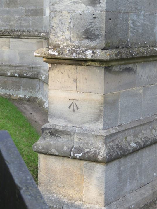 Bench Mark on the outside of the Church