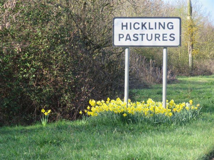 Village sign for Hickling Pastures on Bridegate Lane (2019)