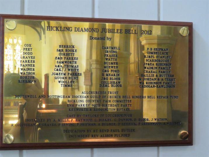 Jubilee Bell plaque