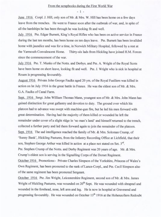 W0160 a - a WWI chronology