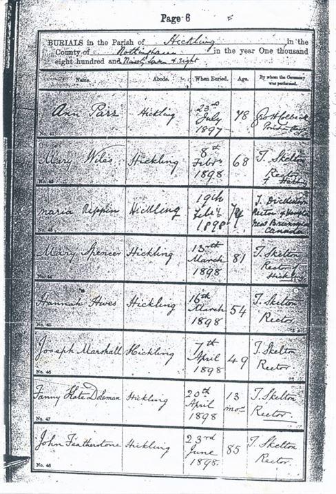 W0267 Burials 1897-8