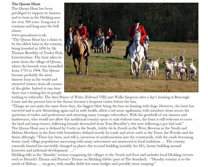 The Quorn Hunt subscribed to the Hickling Diamond Jubilee Bell Fund in 2012 and offered the above article to explain their relationship with the village of Hickling.
