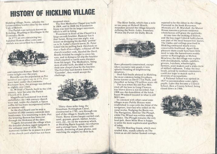 W0899 History of Hickling Village leaflet (after 1966)