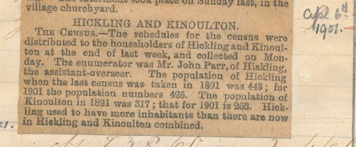 Grantham Journal 1901; record of census enumeration
