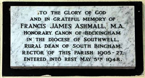 CG: memorial to Canon Francis Ashmall north wall