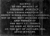 CG: memorial to George Jordan south aisle