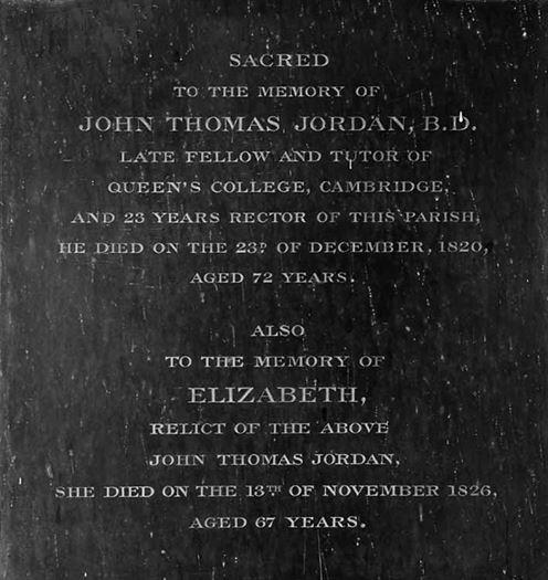 CG: memorial to John Thomas Jordan south aisle