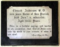CG: memorial to rector, Edward Anderson south wall