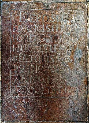 CG: memorial to rector, Francis Bedford floorstone