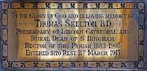 CG: memorial to rector, Thomas Skelton north wall