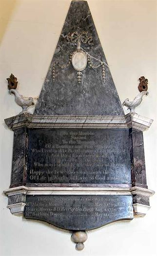 CG: monument to Revd Henry Morris north wall