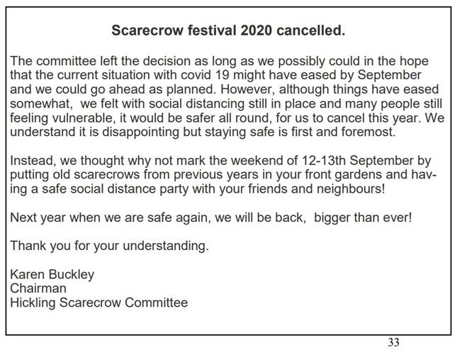 Scarecrows 2020 newsletter
