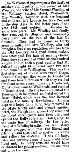 Maria Woolley Obituary Evening Star 19th Oct 1886
