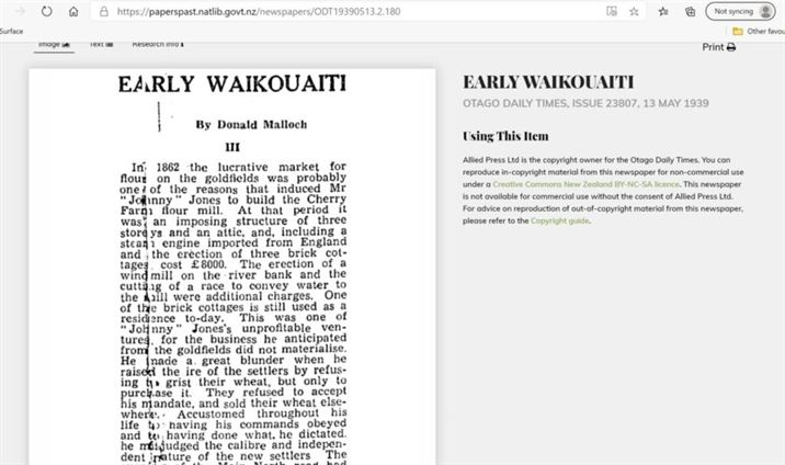 Otago Daily Times - Early Waikouaiti by Donald Malloch 13th May 1939