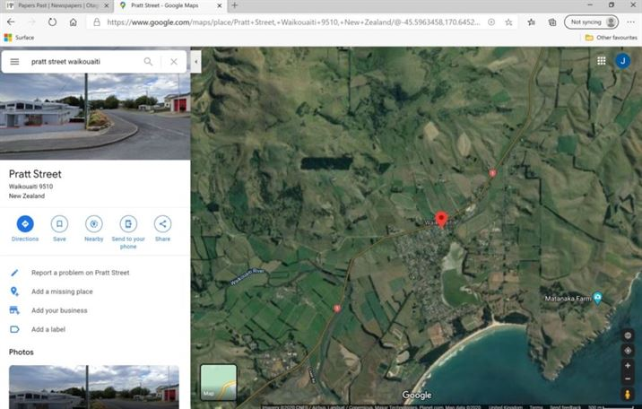 Plough Inn Waikouaiti location - google maps at 161220