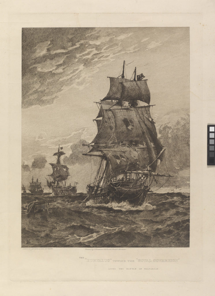 The Euryalus towing the Royal Sovereign after the Battle of Trafalgar, PAH9214