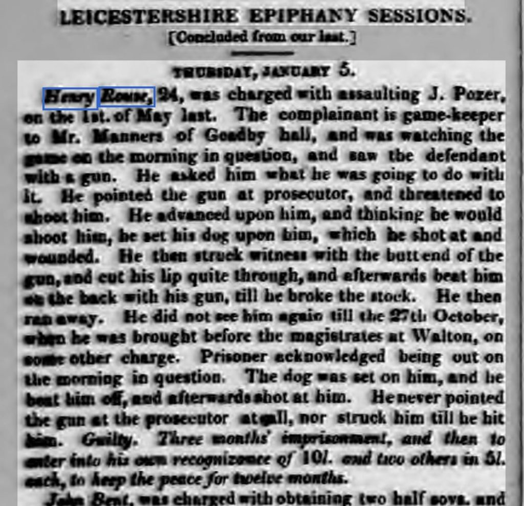 1843 13th January Leicester Journal - assault of a gamekeeper