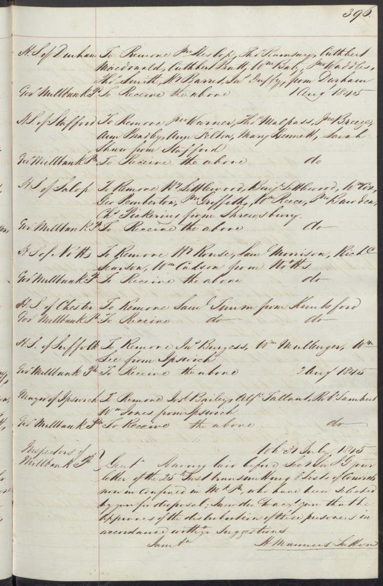 1845 prison record - removal Nottm to Millbank