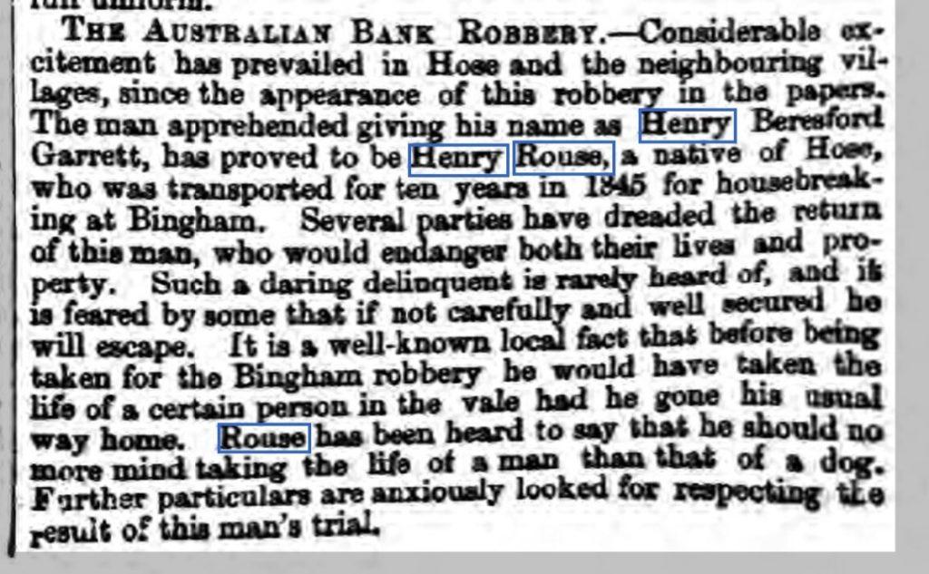 1855 19th April Nottinghamshire Guardian - fear in Hose