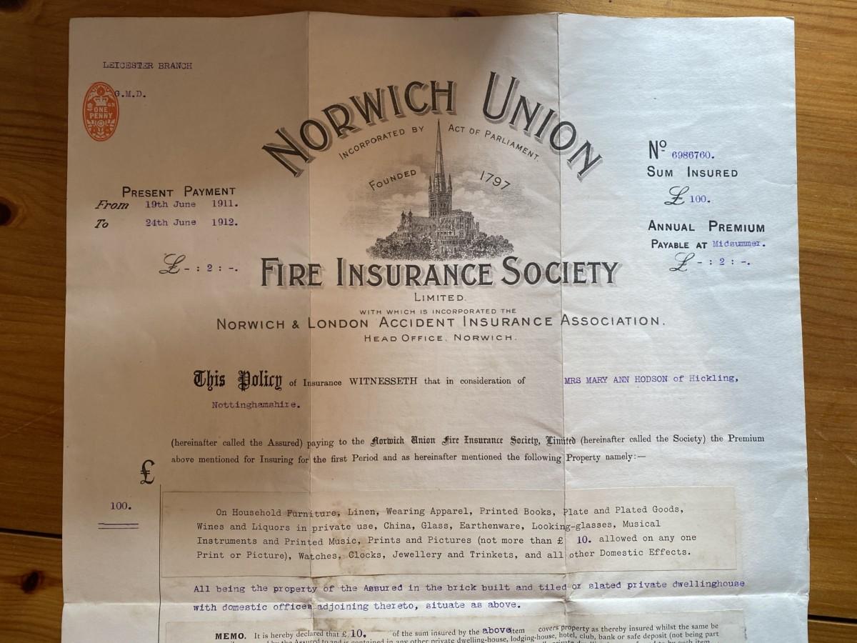 Hodson's Yard: 1911-1914 Fire Insurance certificate