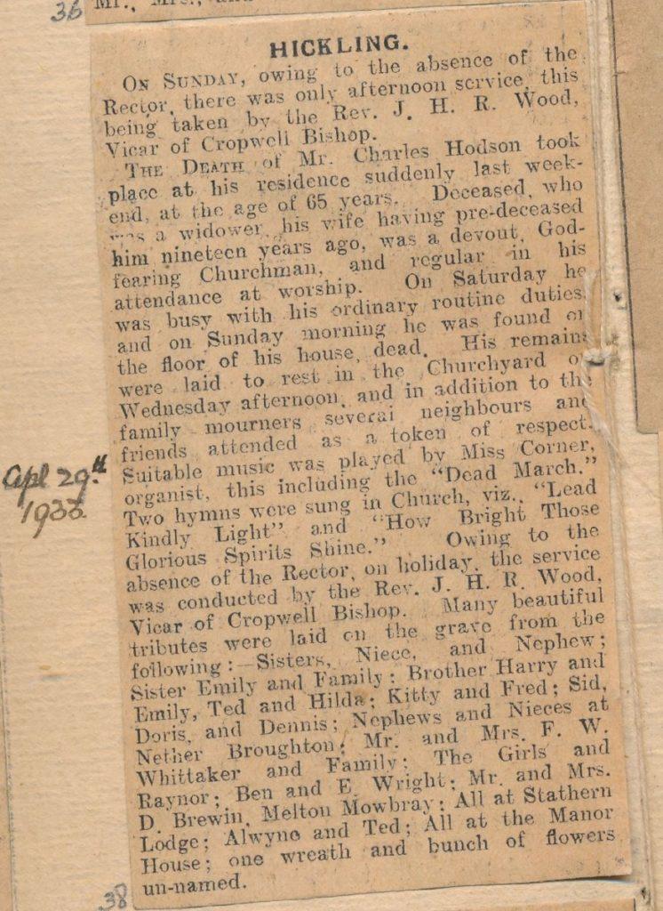 Charles Hodson death notice Grantham Journal Apr 29th 1933