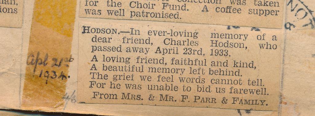 Charles Hodson memorial Grantham Journal Apr 1934
