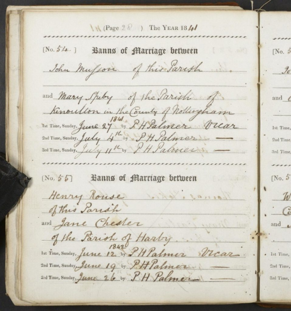 Henry Rouse - possible Banns record in Hose 1842