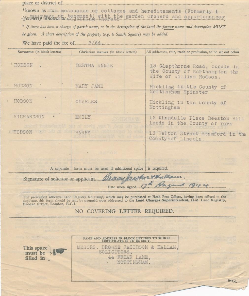 Hodson's Yard: 1944 land charge documents