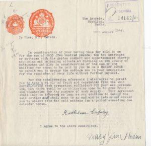 Hodson's Yard: correspondence - Kathleen Copley & Mary Jane Hodson