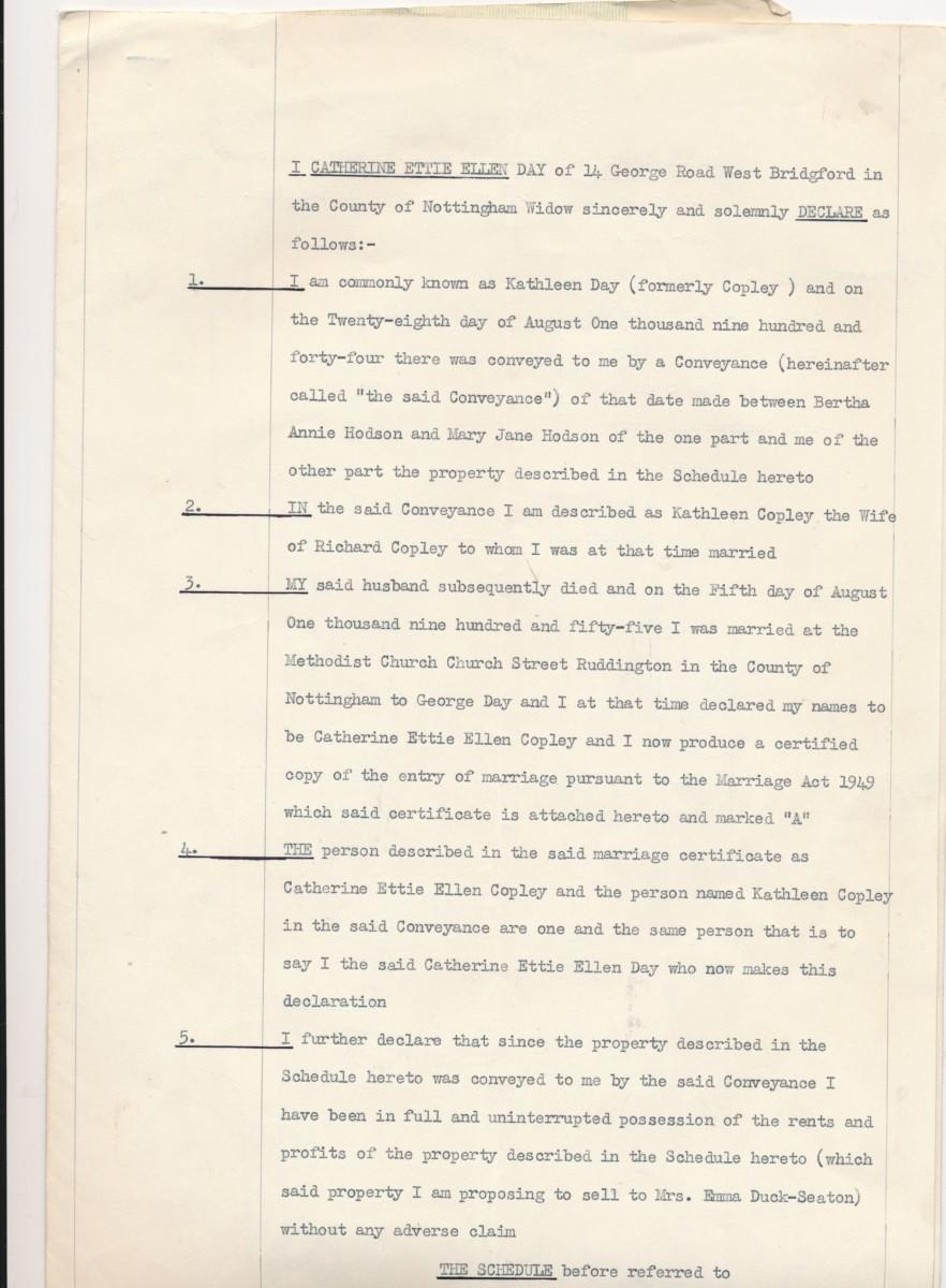 Hodson's Yard: 1960 Kathleen Copley/Day change of name correspondence