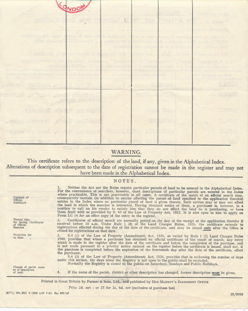 Hodson's Yard: 1960 land charge document