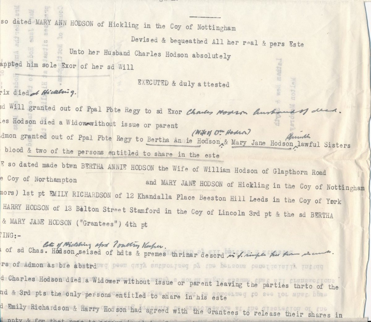 Hodson's Yard: 1944 abstract of title