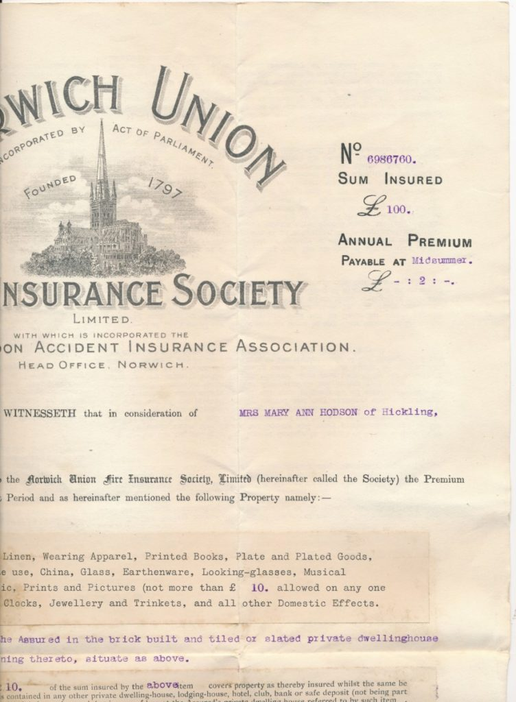 Hodson's Yard: 1911-1914 Fire Insurance certificate