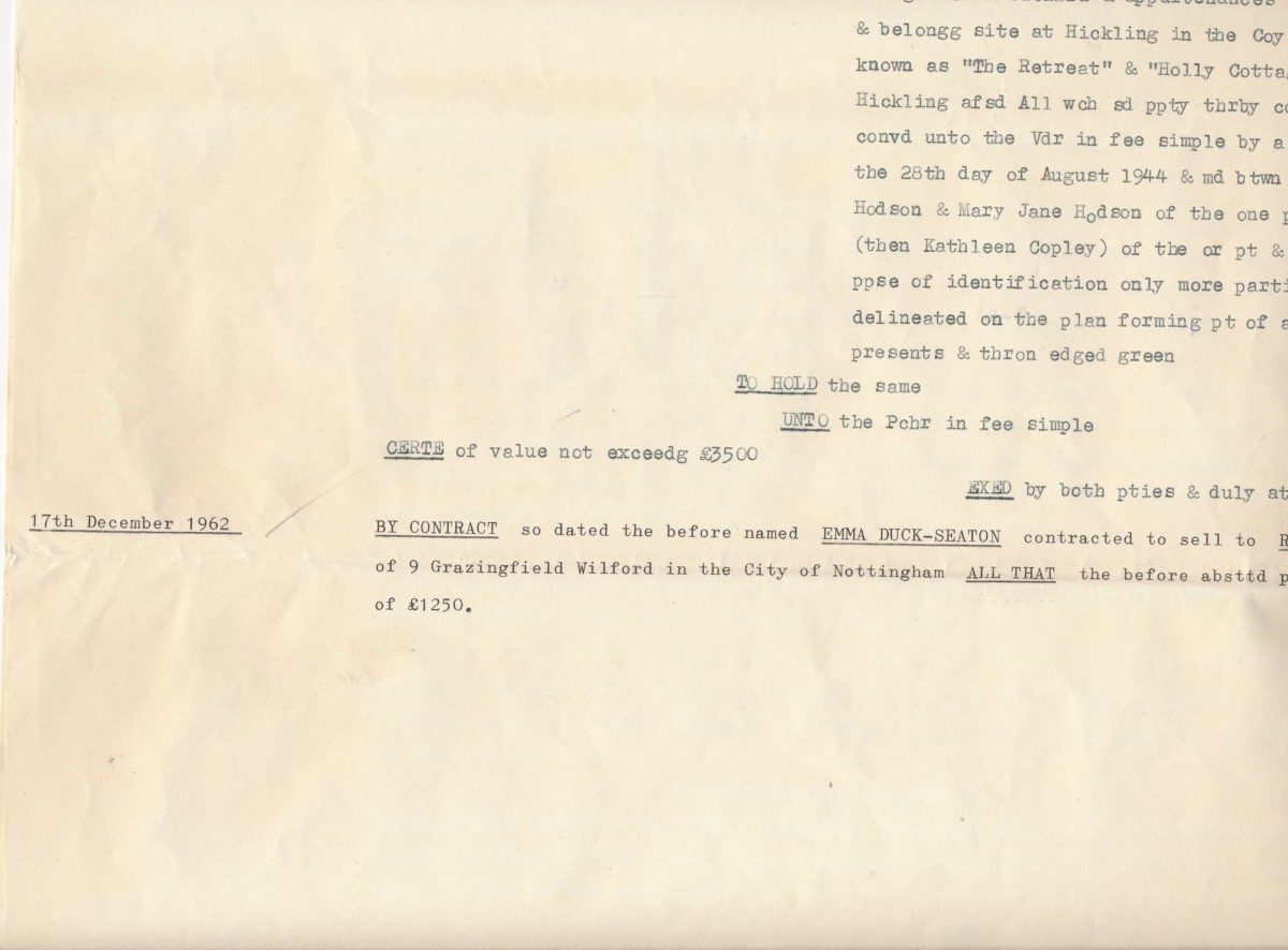 Hodson's Yard: 1962 supplemental abstract of title