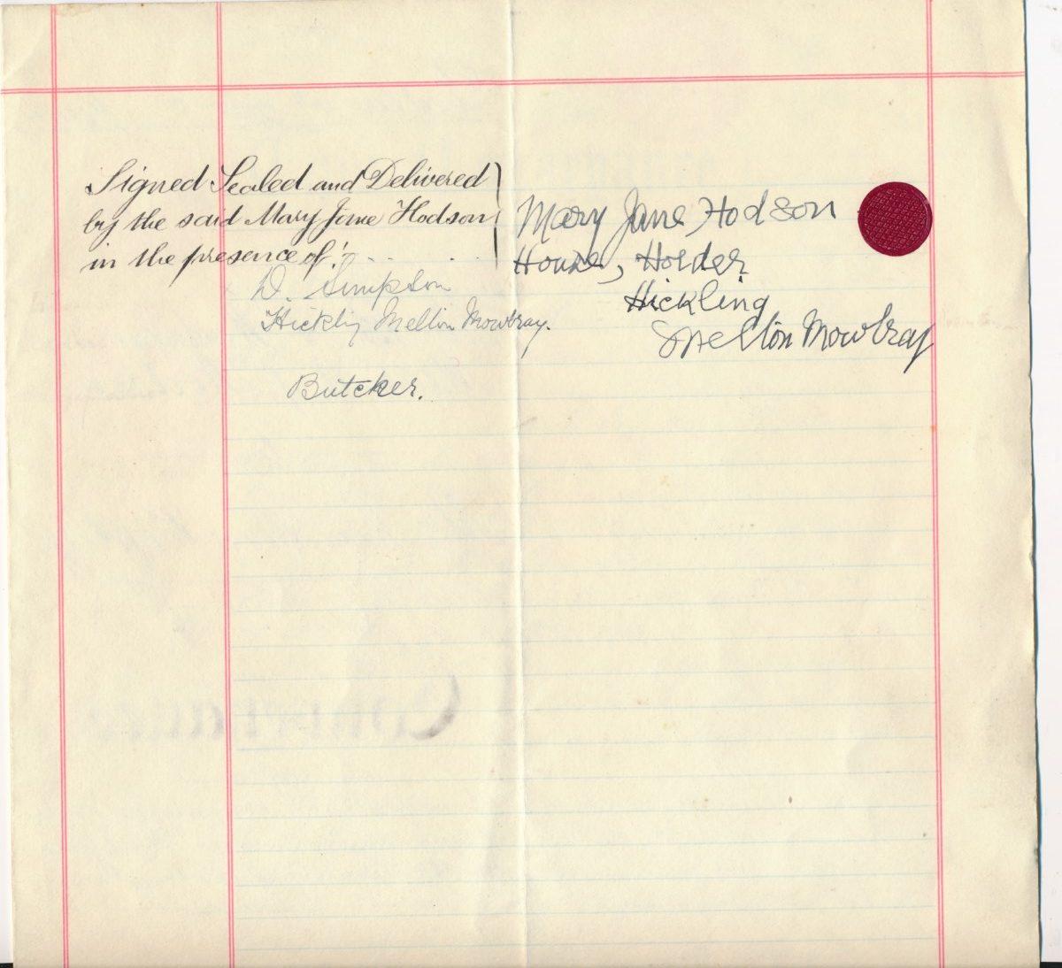 Hodson's Yard: 1944 & 1960 conveyance