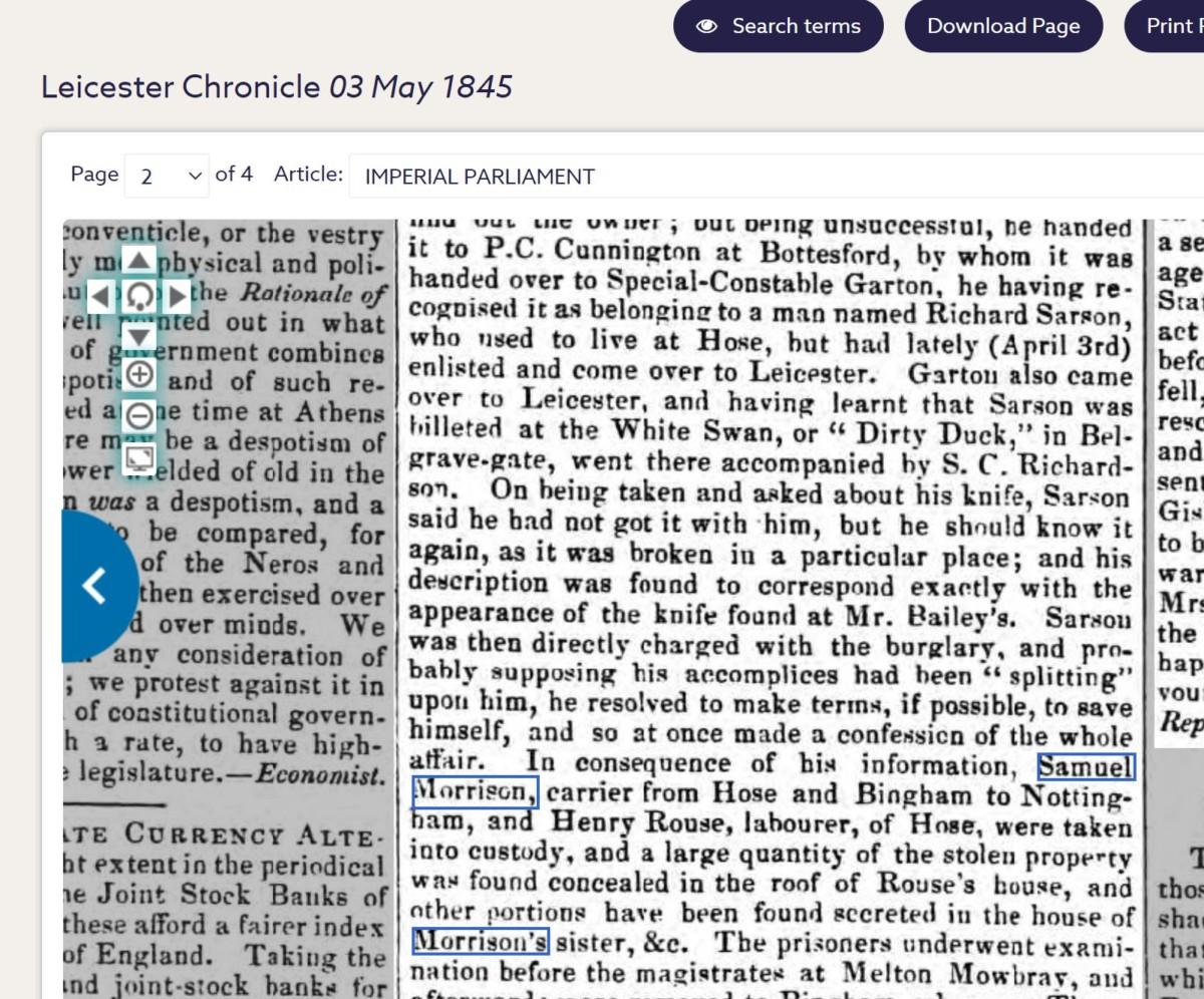 Samuel Morrison Leic Chronicle 3rd May 1845 - capture of the Hose & Melton Burglars 2
