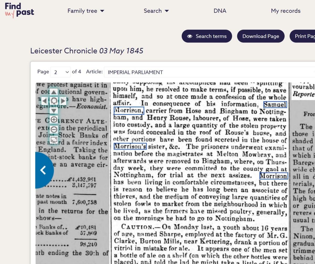 Samuel Morrison Leic Chronicle 3rd May 1845 - capture of the Hose & Melton Burglars 3