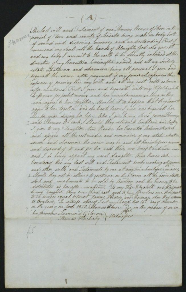 Thomas Rouse Will 1851 2