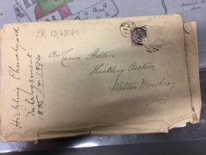 Churchyard Correspondence: annotated envelope 1885 & 1894