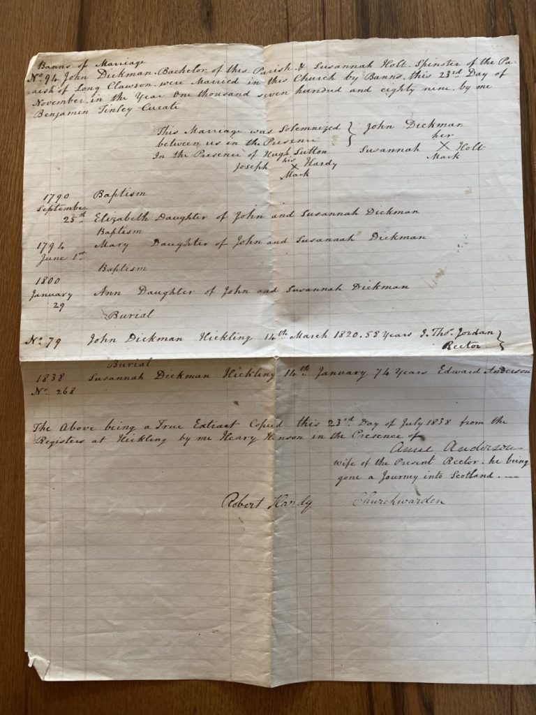 Old Mill Cottage: 1838 abstract – Parish Registers