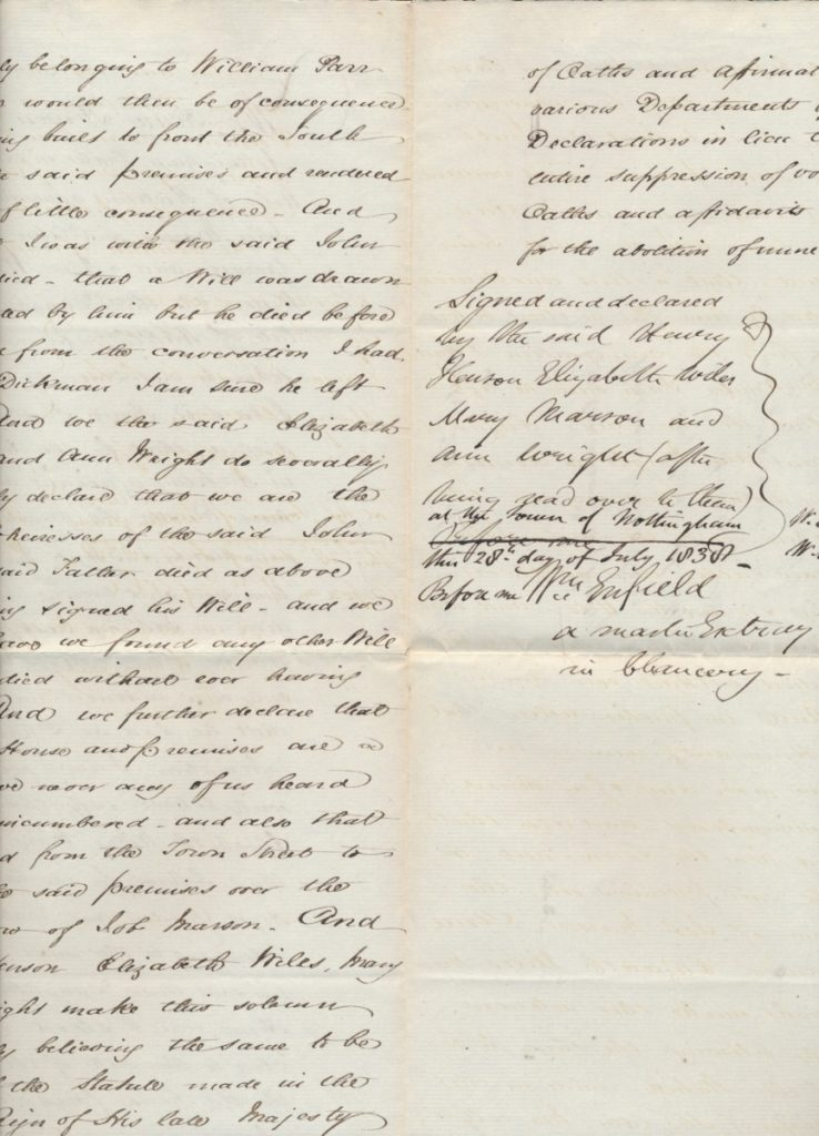 Old Mill Cottage: 1838 declaration